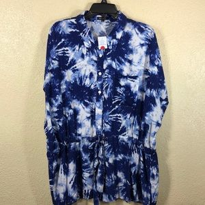 New Look Top Blouse blue White NWT 2X